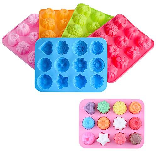 Zasiene Moldes de Silicona de Flores 2 Piezas Molde de Pastel de Silicona Moldes para Jabones para Hacer Jabón Chocolates Gelatina Hornear para Accesorios(Color Aleatorio)