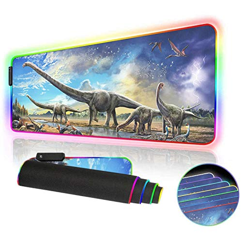 RGB Gaming Mouse Pad,Oversized 12 Lighting Mode and USB Mousepad,Non-Slip Rubber Base and Waterproof Soft Mouse mat for MacBook,PC,Laptop,LED Desk Pad 31.5 X 12 Inch (Dinosaur)