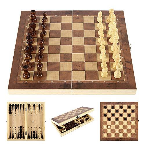 Ghopy 3 en 1 Ajedrez de Madera Plegable Tablero de Ajedrez Juego de Mesa Viaje Fiesta Entretenimiento Puzzle Educational Folding Chess Portátil Regalo para Niños y Adulto (29 * 29 cm)