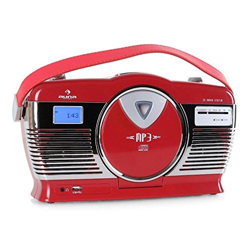 Auna RCD-70 - Sistema de Audio esteréo Retro (Radio FM, USB, Reproductor CD, Posibilidad Funcionamiento a Pilas, MP3, portátil) - Rojo
