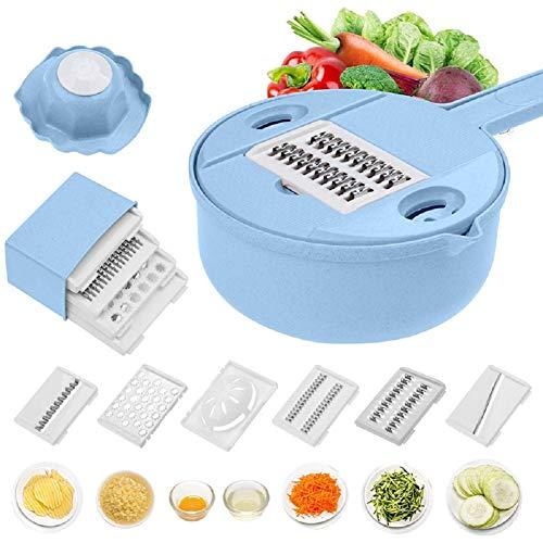 GT-LYD Mandoline Gemüsehobel, 6-in-1-Gemüsespiralschredder mit Handschutz und Eiweißabscheider-Ablaufschlitz, Mehrzweckküche