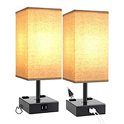 3 Way Dimmable Touch Control Table Lamp, Dicoool Bedside Lamp with 2 USB Charging Ports 2 AC Outlets, Beige Shade with Black Base, Modern Lamp for Bedrooms, T45 LED Bulbs Included, Set of 2