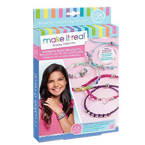 Make It Real 1206 Regenbogen Bling Armbänder - DIY Bead & Knot Armband, das Kit für Mädchen