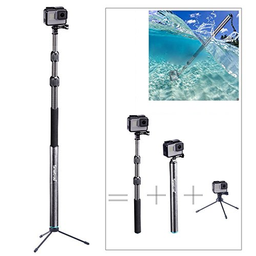Smatree S3C Carbon Fiber Detachable Extendable Floating Pole with Tripod Stand Compatible for GoPro MAX/GoPro Hero Fusion/9/8/7/6/5/4/3 Plus/3/GoPro Hero 2018/DJI OSMO Action Camera