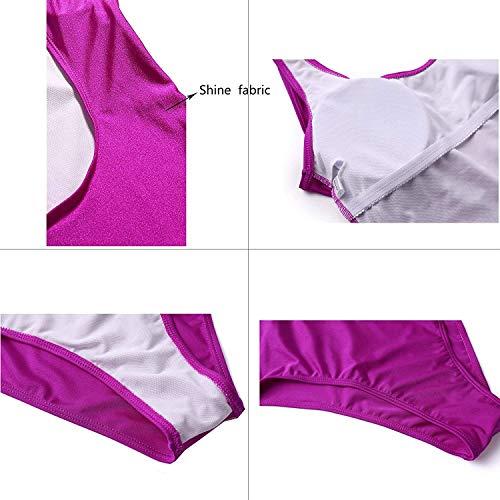 MIAIULIA Women's Retro 80s/90s Inspired High Cut Low Back One Piece Padding Swimwear Bathing Suits Purple Pad L
