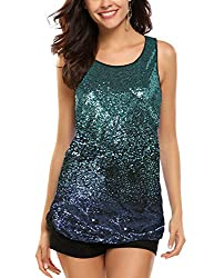 Sky Blue Sleeveless Shimmer Camisole Vest Sequin Tank Top