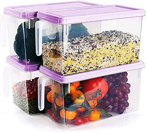 MineSign - Paquete de 4 cubos de plástico para almacenamiento de alimentos con tapas para frigorífico, contenedores de ahorro de productos para organización de refrigerador,...