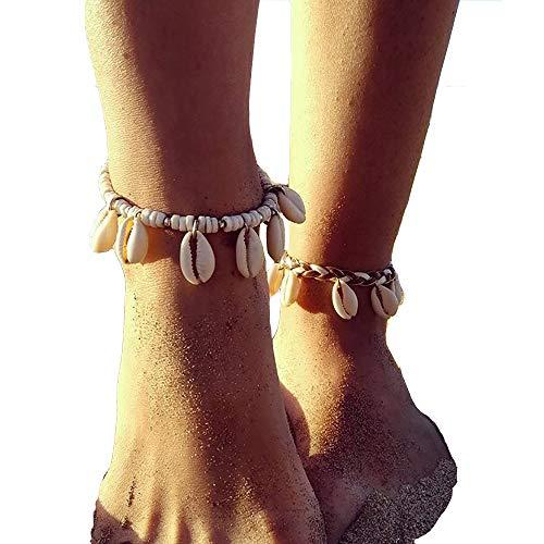Yakiki Boho Shell Cheville Pied Bijoux Réglable Cheville Bracelet pour Les Femmes D'été Barefoot Beach Anklet (Shell + Perles) (A)