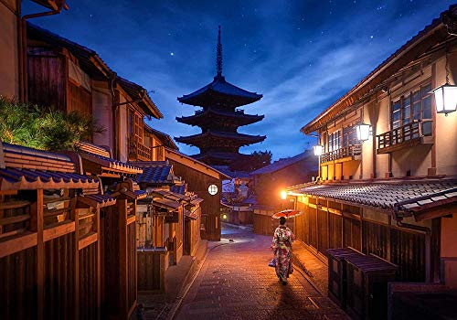 VGFGI Papel tapiz de vinilo autoadhesivo impermeable de Pvc 3D Mural estilo japonés ciudad en la noche tema decoración de edificios japoneses papel tapiz