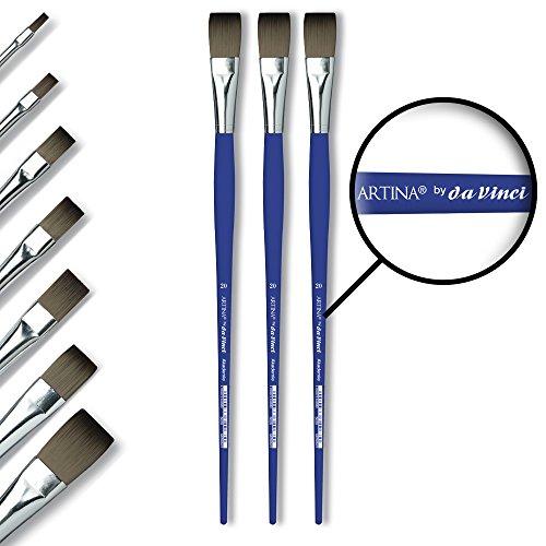 Artina Set da 3 pennelli a Punta Piatta Vinci Serie 5020 Akademie - Diverse Misure