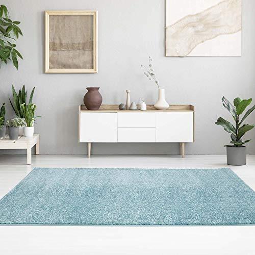 MyShop24h - Alfombra lisa, moderna, colores pastel, lisa, suave y brillante, para salón o dormitorio, azul, 80 x 150 cm