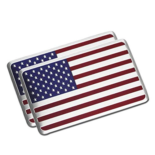 PT-Decors 2pcs USA États-Unis Badge en Aluminium en Métal Graphique Autocollant De Voiture Emblème Autocollant