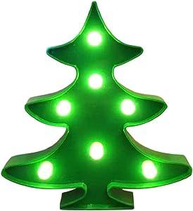 QUICKLYLY Luces/Adornos de Navidad,Colgante Decorativo,Cadena De Alambre LED,Guirnalda Gledto Pilas Manguera Omeril,árboles Iluminan Letras Plástico Blancas Pie Colgando