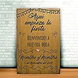 Enkolor/Cartel Boda madera/Personalizado/Artesanal/Bienvenidos/Mostaza/40X60cm.