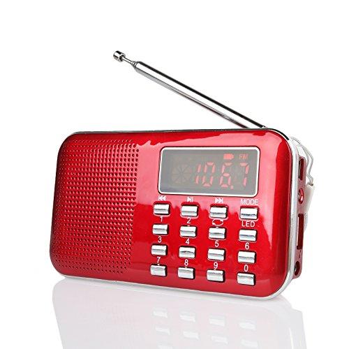 Raddy RF23 tragbar Radio Klein AM/FM Kurzwellenempfänger MP3 Musik Player, unterstützt Mikro USB TF Karte, mit LCD-Anzeige Wecker Externe Antenne und Chargeable Batterie (Rot)