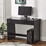 Panana Wood Office <span class='highlight'>Desk</span> Computer Workstation <span class='highlight'>PC</span> Laptop Writing Table with Two Drawers Home Office Black