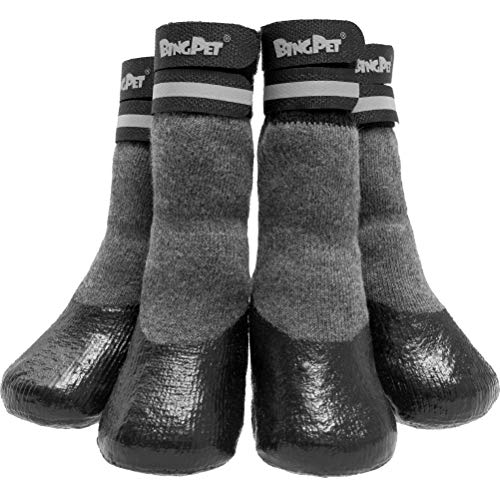 BINGPET Anti-Slip Dog Socks,Waterproof Paw Protectors with Reflective Straps Traction Control for Indoor & Outdoor Wear, 4pcs