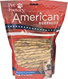 Pet Factory American Beefhide Chews 28159 Rawhide Chicken Flavor 5' Twist Sticks for Dogs. American Beefhide is a Great Source for Protein and Assists in Dental Health. 100 Pack, Resealable Package