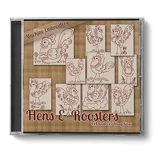 Hens & Roosters Chicken Redwork Embroidery Machine Designs on CD - CD padrão multiformato