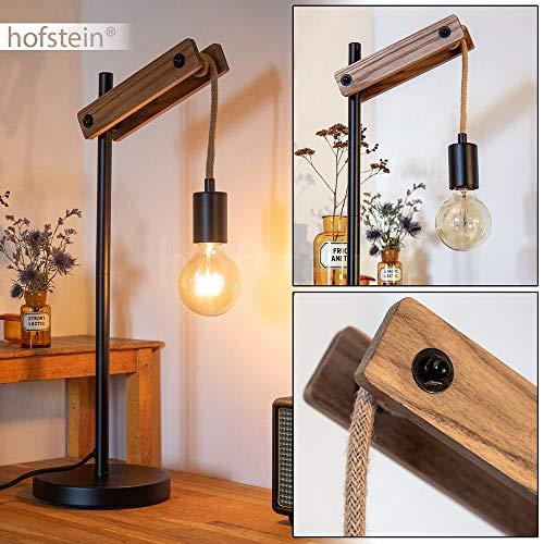 Tafellamp Aarhus hout touw metaal zwart retro bureaulamp met kabelschakelaar voor 1 x E27 max. 60 watt, geschikt voor LED-lampen