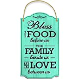 Bless Our Family Food Love Sign by Bigtime Signs - Heart Warming Quote - Strong PVC with Rope for Hanging - Country, Rustic House, Kitchen, Dining Wall Decor - Housewarming, Home Gifts - 8.5x14.5 Inch (Teal)