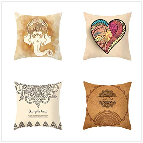 Throw Pillow Case Cushion Covers Elephant Heart Velvet Soft Decorative Square Double-Sided Pillowcases for Livingroom Sofa with Lnvisible Zipper Car Home Decor Set of 4 T1782 45x45cm/17.6x17.6in