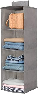 Hanging Closet Organizer,Sweater & sock Organizer with a Hook and Loops,Collapsible Storage Shelves for Clothes, pants and Shoes (Grey-4 Shelf)