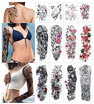 Temporary Tattoo Sticker Full Arm Large Size Fake Tatoo for Man Woman 12 Sheets