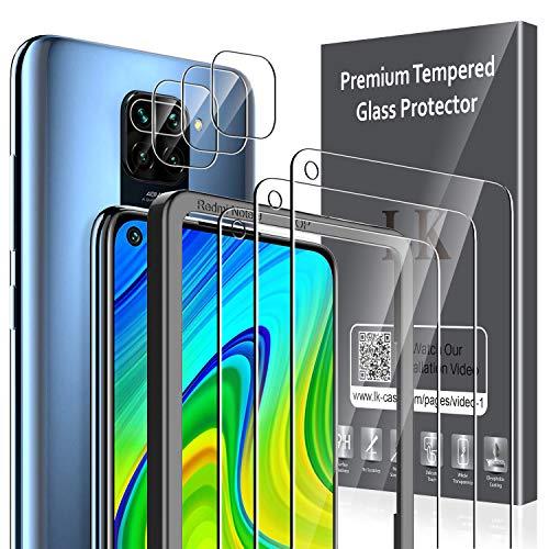 LK [3 Pack Protector de Pantalla para Xiaomi Redmi Note 9 Cristal Templado + [3 Pack] Xiaomi Redmi Note 9 Protector de Lente de cámara [Doble protección, Alta Transparencia, antiarañazos]