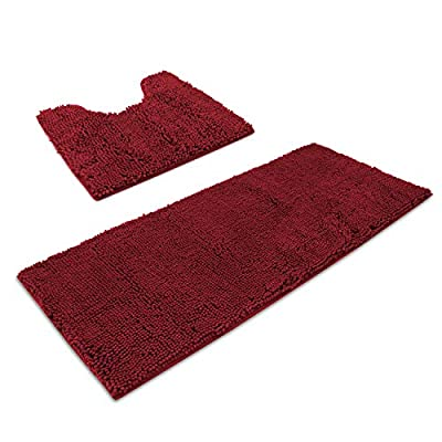 "AOACreations Bathroom Rugs Luxury Ultra Soft Chenille Bath Mat 2 Piece Set, 1 Runner Mat 20"" x 47"" and 1 Contour 20"" x 20"", Shaggy Plush Water Absorbent (2-Piece Contour and Runner Set, Burgundy)"