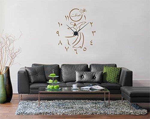 Saphir Design Wandtattoo Uhr Semazen und Arabische Ziffern mit Wunschname, inkl. Uhrzeiger (Farbe Schwarz, 60x70cm)