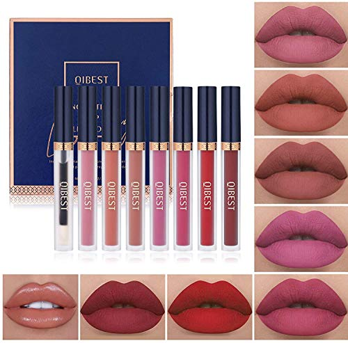 7Pcs Matte Liquid Lipstick + 1Pcs Lip Plumper Makeup Set Kit, Long Lasting Waterproof Velvet Lip Gloss Set, Pigmented Lip Makeup Gift Sets for Girls and Women
