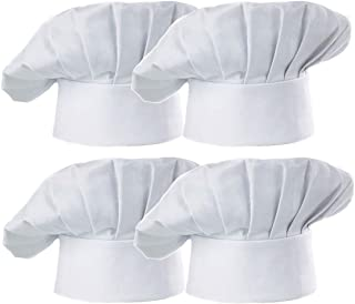 Hyzrz Chef Hat Set of 4 PCS Pack Adult Adjustable Elastic Baker Kitchen Cooking Chef Cap, White