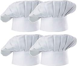 Hyzrz Chef Hat Set of 4 PCS Pack Adult Adjustable Elastic Baker Kitchen Cooking Chef Cap, White