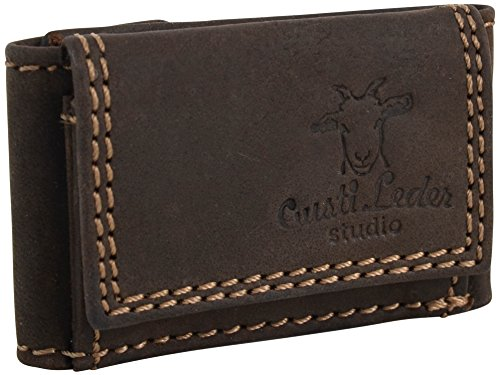 Gusti Leder studio 'Cliff' portamonete portafoglio banconote monete documenti vintage vera pelle marrone 2A69-22-6