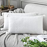 Foindtower Pack of 2 Throw Pillow Covers Decorative Vintage Lumbar Pillowcases Cable Knit Embossed Textured Cushion Cover with Pom Poms 12X20 Boho Home Decor for Couch, Bed, Sofa, White