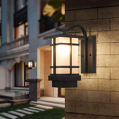 American Retro Rural Led Outdoor Wall Lamp Waterproof Outdoor Garden Patio Balcony Corridor Black Glass Wall Lamp 16x33cm Delicate Indoor Lamp Decorative HUERDAIIT
