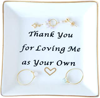 PUDDING CABIN Mother Gift Ring Dish Square Trinket Tray - Thank You for Loving Me as Your Own - Good Meanings Gift for Lover Friends and Family