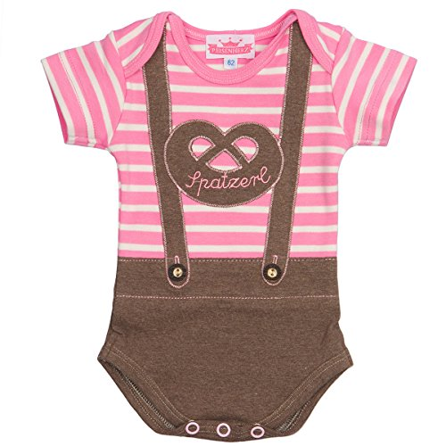 P. Eisenherz Trachten Baby Body - Lederhose SPATZERL - rosa, Größe 68