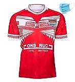 Maillots de Rugby pour Hommes 2019 Japon Coupe du Monde Tonga Maillot de Football, survêtement de Sport Polyester à séchage Rapide Respirant, adapté aux étudiants, Enfants-Red-XXXL