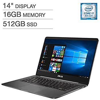 ASUS ZenBook UX430UN UltraBook Laptop  14inFHD  1920x1080  8th Gen Intel Core i7-8550U 512GB SSD 16GB RAM NVIDIA MX150 Graphics Backlit Keys FingerPrint Reader Windows 10  Renewed