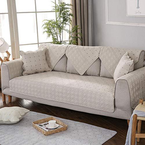 YUTJK Sofá Fundas Antideslizante,Toalla de sofá Cubierta,Protector de Muebles,Lanzar Juegos de Funda de cojín Estar,Cojín de sofá de algodón Reversible,para sofá de Tela,marrón