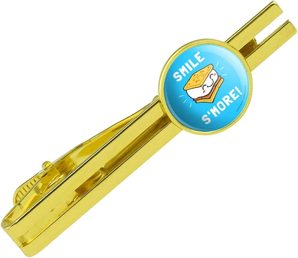 Smile S'More Funny Humor Round Tie Bar Clip Clasp Tack Gold Color Plated