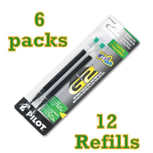 Value Pack of 12 Pilot G2 Gel Ink Refill, for Rolling Ball Pens, Fine Point, Green Ink (77243)