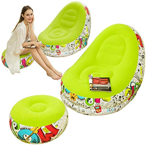 Lazy Sofa, Inflatable Sofa, Family Inflatable Lounge Chair, Graffiti Pattern Flocking Sofa, with Inflatable Foot Cushion, Suitable for Home Rest or Office Rest, Outdoor Folding Sofa Chair (Green)