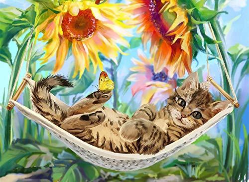 JinWensm DIY canvas schilderij voor volwassenen en kinderen, katjes in de hangmat DIY olieverfschilderij schilderen op nummer-kits voorbedrukt canvas huis decoratie 16 x 20 inch / 40 x 50 cm zonder lijst