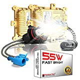 55W H8 H9 H11 H16 6000K Heavy Duty Fast Bright AC HID Xenon Bulbs bundle with AC Digital CANBUS Slim Ballasts No OBC Error for 12V Vehicles (Daylight White)