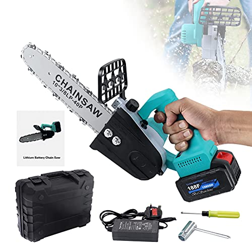 12 inch Cordless Electric Chainsaw,700W Battery Powered Saw Cutter for Cutting Trees Wood Branches,with 21V 1.5AH Rechargeable Battery and Charger
