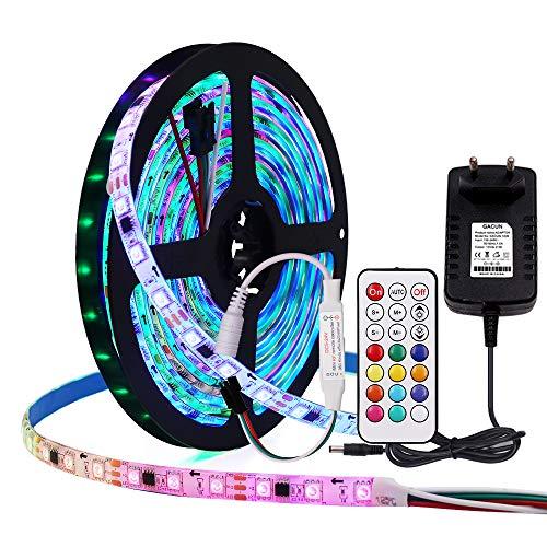 XUNATA WS2811 DC12V Einzeln Adressierbaren LED-Streifen 5050 RGB Traumfarbe Lichtband mit 21Key RF LED RGB Controller (3M 180leds IP65 Wasserdicht)