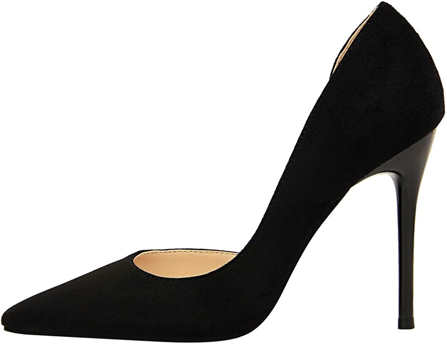 Sam Carle Women Pumps, Suede Side Hollow High Thin Heel Pointed Toe Dating Party shoes